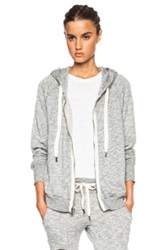 Nsf Roxie Zipper Cotton Blend Hoodie In Gray
