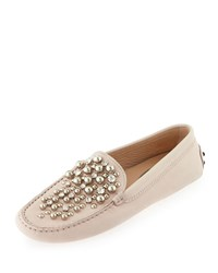 Tod's Beaded Leather Gommini Loafer Blush Size 38.0B 8.0B
