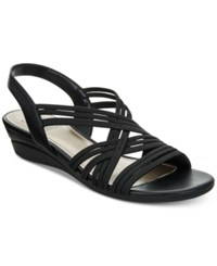 Impo Ramsey Stretch Slingback Wedge Sandals Women's Shoes Black