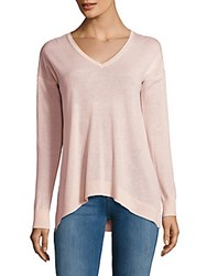 Saks Fifth Avenue Black Asymmetrical V Neck Top Oatmeal Heather