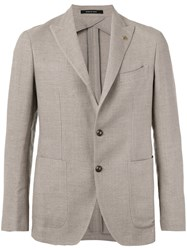 Tagliatore Two Button Jacket Men Linen Flax Cupro Wool 52 Nude Neutrals