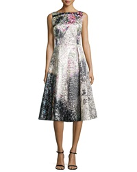 Rickie Freeman For Teri Jon Tea Length Jacquard Cocktail Dress