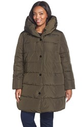 Plus Size Women's Gallery Pillow Hood Quilted Down And Feather Fill Stadium Coat