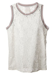 Luxury Fashion Rib Trim Lace Tank Top White