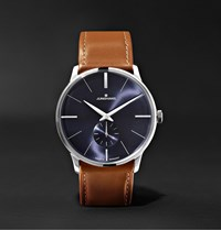 Junghans Meister Handaufzug 38Mm Stainless Steel And Leather Watch Ref. No. 027 3504.00 Blue