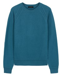Jaeger Cotton Crew Neck Sweater Green