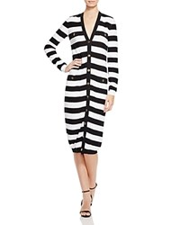 Boutique Moschino Striped Long Cardigan Black White