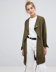 New Look Waterfall Duster Coat Green