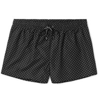 Dolce And Gabbana Mid Length Polka Dot Swim Shorts Black