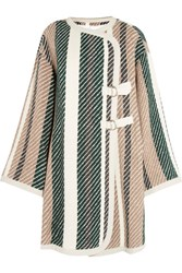 See By Chloe Leather Trimmed Striped Jacquard Knit Coat Green