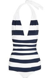 Dolce And Gabbana Ruched Striped Halterneck Swimsuit Navy