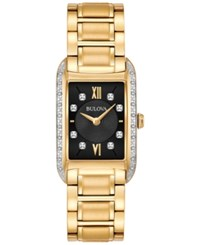 Bulova Women's Diamond Accent Gold Tone Stainless Steel Bracelet Watch 22X35mm 98R228