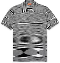 Missoni Space Dyed Knitted Cotton Polo Shirt Black