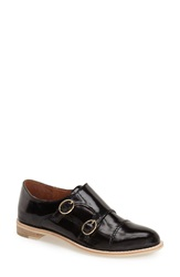 All Black Buckle Monk Strap Loafer Women Black Leather
