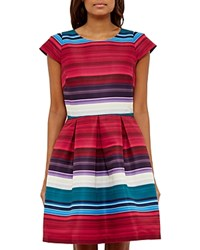 Ted Baker Blushing Bouquet Stripe Dress Deep Pink