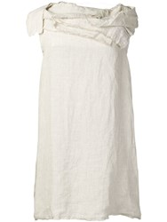 Stefano Mortari Ruffled Neck Dress Neutrals