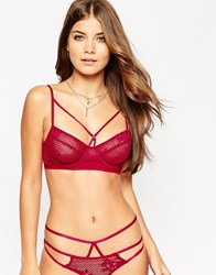 Asos Patsy Fishnet Lace Caged Underwire Bra Red
