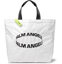 Palm Angels Logo Embroidered Coated Woven Tote Bag White