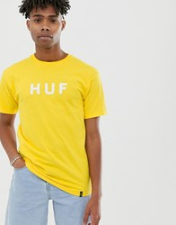 Huf Essentials Og Logo T Shirt In Yellow