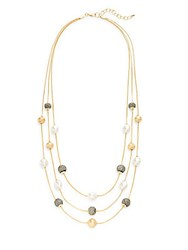 Carol Dauplaise Brushed Fave Triple Strand Faux Pearl Necklace Gold
