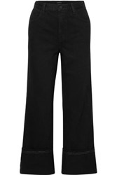J Brand Joan Cropped High Rise Wide Leg Jeans Black