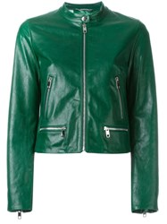 Dolce And Gabbana Cropped Leather Jacket Green