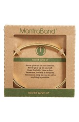 Mantraband Women's Never Give Up Engraved Cuff Gold