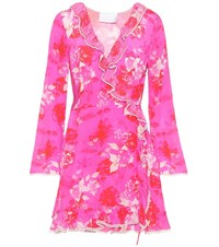Athena Procopiou Melrose Sunset Silk Wrap Dress Pink