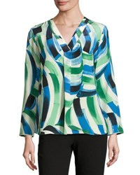 Lafayette 148 New York Libby Printed Silk Blouse White Pattern