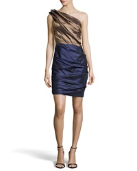 Halston Heritage Ruched One Shoulder Two Tone Dress Bronze Midnight