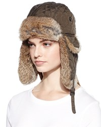 Surell Quilted Fur Trim Trapper Hat Army Heather