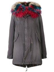Mr And Mrs Italy Fur Lined Parka Cotton Lamb Skin Mink Fur Racoon Fur Green