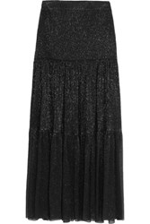 Vilshenko Nina Silk Lame Maxi Skirt Black