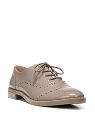 Franco Sarto Imagine Stacked Patent Leather Heel Wingtip Oxfords Blush Taupe