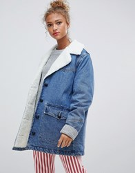 Pull And Bear Pullandbear Denim Coat With Borg Collar In Blue Medium Blue