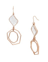 Kenneth Cole Under Construction Crackled Stone Geometric Double Drop Earrings Two Tone