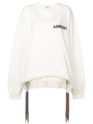 Ambush Fringed Logo Print Sweatshirt White