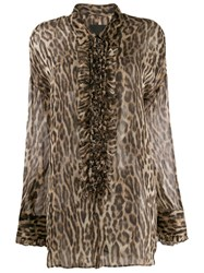 R 13 R13 Ruffled Leopard Print Blouse Brown