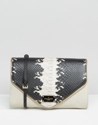 Paul's Boutique Pauls Clutch Bag With Optional Cross Body Strap Stone Black Beige