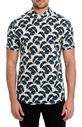 7 Diamonds Men's Lost In Paradise Print Woven Shirt Blue
