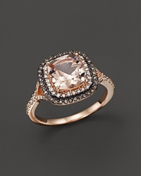 Bloomingdale's Morganite White Diamond And Brown Diamond Ring In 14K Rose Gold