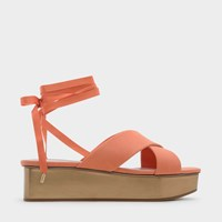 Charles And Keith Lace Up Flatform Sandals Orange