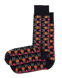 Bow Tie Graphic Print Socks Navy Orange Fuchsia Navy Orange Fusc Jonathan Adler