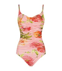 Maryan Mehlhorn Floral Gathered Swimsuit Female Pink