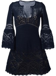 Alberta Ferretti Crochet V Neck Dress Blue