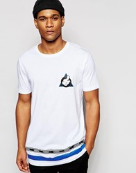 Asos Longline T Shirt With Mickey Mouse Thumb Print In Relaxed Skater White