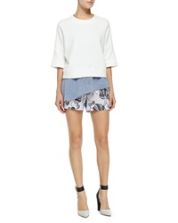 Derek Lam 10 Crosby 2 In 1 Sweatshirt W Asymmetric Ruffle White Blue