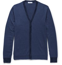 Etro Slim Fit Contrast Trimmed Wool Cardigan Blue