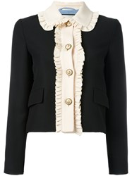 Gucci Ruffle Trim Cropped Jacket Black