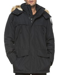 Marc New York Stowe Faux Fur Trimmed Hooded Jacket Black